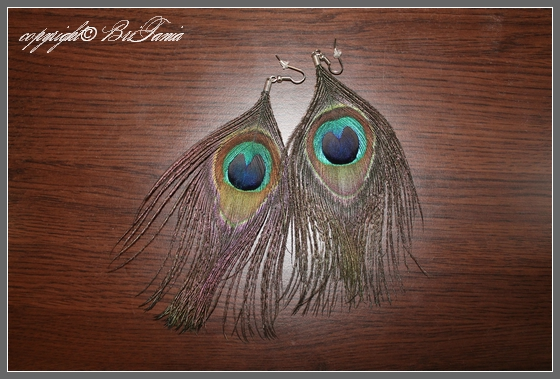 Серьги - перья павлина